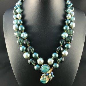 Vintage DeMario teal bead necklace